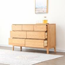 名达威纯实木五斗柜简约现代北欧卧室七斗柜六斗柜橡木储物柜