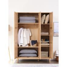 名达威三门衣柜实木组装北欧木质柜子卧室家用原木组合衣柜大衣橱