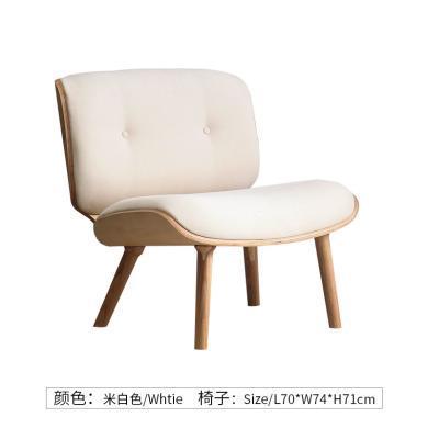 北歐布藝單人小沙發椅木臥室迷你簡約現代設計師創意個性軟包椅子