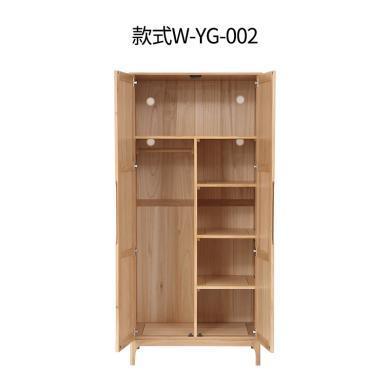 名達威橡木衣柜兩門衣柜實木臥室北歐木質家用原木雙門柜子大衣櫥