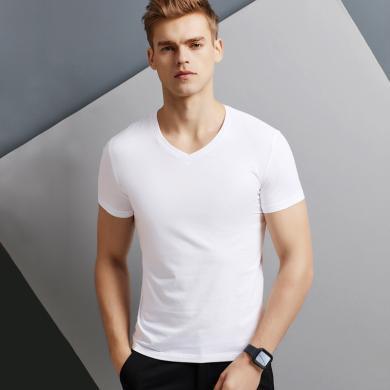 純棉男T恤精梳棉短袖修身潮流半袖純色夏季透氣