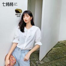 七格格白色雪紡襯衫女士2019新款夏季短袖韓版寬松娃娃衫心機上衣