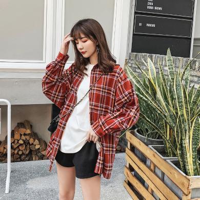 七格格港风格子衬衫女秋装2019新款韩版宽松夏复古长袖上衣外套潮
