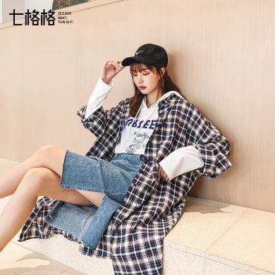 七格格格子外套女秋裝2019新款夏季韓版寬松中長款印花襯衫風衣潮