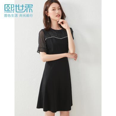 熙世界2019夏装新款中长款五分袖蕾丝拼接简约通勤圆领裙子LL189
