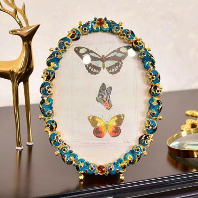 DEVY欧式轻奢珐琅彩金属创意相框摆台6寸7寸卧室婚纱照送闺蜜礼物