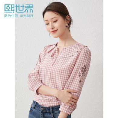 很有設計感熙世界荷葉領七分袖格子襯衫女2019秋裝新款襯衣LC052