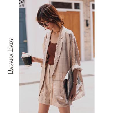 BANANA BABY2019秋新款英倫風短褲格子西裝外套女寬松兩件套套裝D293TZ568