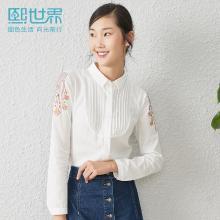 熙世界白色長袖襯衫女2019早秋新款POLO領棉氣質直筒襯衣女LC016
