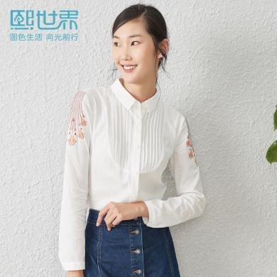 熙世界白色长袖衬衫女2019早秋新款POLO领棉气质直筒衬衣女LC016