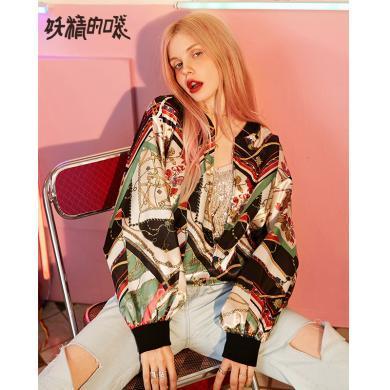 妖精的口袋復古印花緞面棒球服2019秋季新款女流行bf風寬松短外套