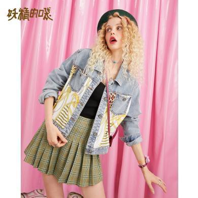 妖精的口袋牛仔外套潮ins女2019秋季新款女拼接復古印花短款上衣