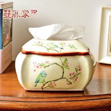 墨菲 美式鄉村彩繪花鳥陶瓷紙巾盒家居客廳餐桌歐式田園抽紙擺件