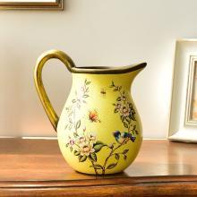 墨菲 歐式田園創意陶瓷單耳小花瓶美式復古客廳仿真花干花插花器