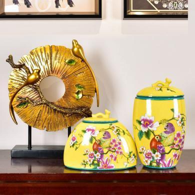 墨菲 新中式家居客廳玄關收納罐擺件創意酒柜電視柜擺設結婚禮物