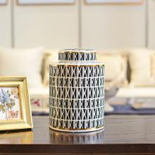 DEVY美式輕奢陶瓷花瓶擺件客廳玄關樣板間收納罐干花藝插花器擺設