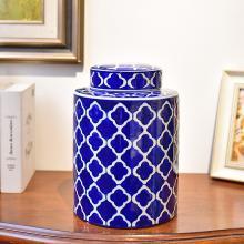 DEVY 新中式古典青花陶瓷花瓶客廳玄關酒柜裝飾假花仿真花插花器