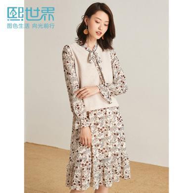 熙世界中长款套头杏色仙女连衣裙2019秋新针织蝴蝶结两件套裙子