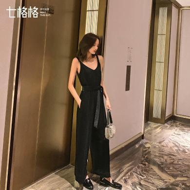 七格格金絲絨闊腿褲女韓版寬松2019新款秋季黑色直筒背帶連體褲子