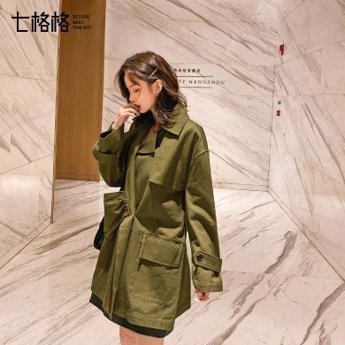 七格格風衣女中長款小個子英倫風外套2019新款秋季韓版寬松上衣潮