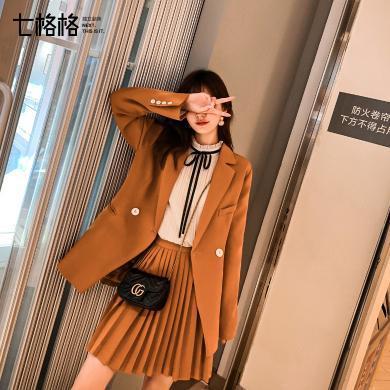 七格格西裝外套女2019新款秋季長袖寬松時尚上衣法式休閑小西服潮