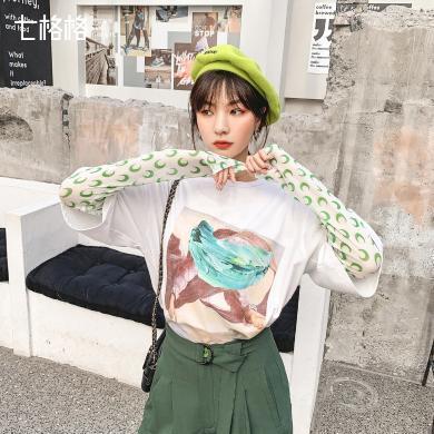 七格格秋季女上衣新款洋氣2019雪紡衫長袖修身韓版氣質小眾蕾絲衫