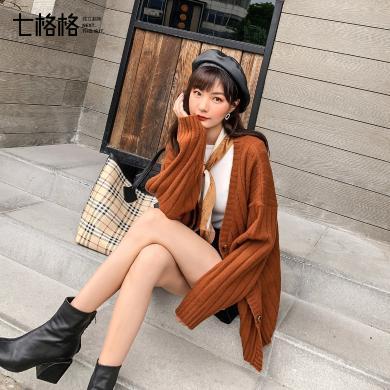 七格格宽松外套女2019新款秋季百搭学生长袖韩版时尚中长款上衣潮