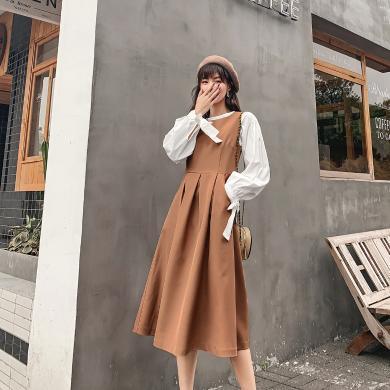 七格格套裝女2019新款韓版兩件套時尚減齡小個子秋裝搭配洋氣裙裝