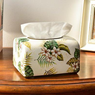 墨菲歐式田園客廳紙巾盒抽紙盒家用創意美式鄉村復古收納盒紙抽盒