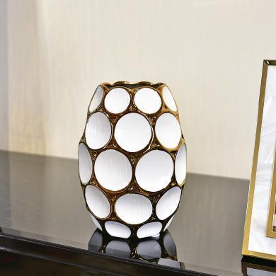 DEVY 簡歐現代輕奢陶瓷花瓶客廳創意裝飾擺件仿真花藝水培插花器