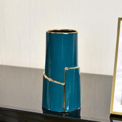 DEVY現代輕奢陶瓷水培花瓶簡歐創意客廳餐桌仿真花藝插花裝飾擺件