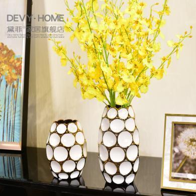 DEVY 简欧现代轻奢陶瓷花瓶客厅创意装饰摆件仿真花艺水培插花器