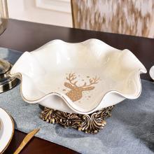 墨菲 新中式古典青花陶瓷水果盘客厅餐厅大号干果糖果零食盘摆件