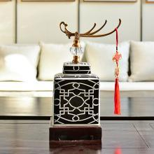 墨菲 新中式創意陶瓷擺件現代美式家居客廳玄關工藝軟裝飾品擺設