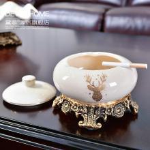DEVY歐式創意個性帶蓋煙灰缸陶瓷大號煙缸客廳擺件復古首飾收納盒