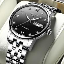 冠琴品牌手表男全自動機械表鏤空鋼帶男士手表鏤空防水時尚商務