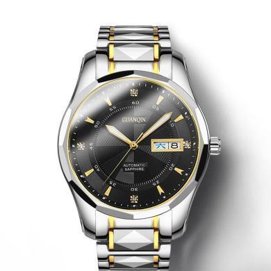冠琴手表男士機械表時尚潮2019新款全自動鎢鋼男表精鋼帶防水腕表
