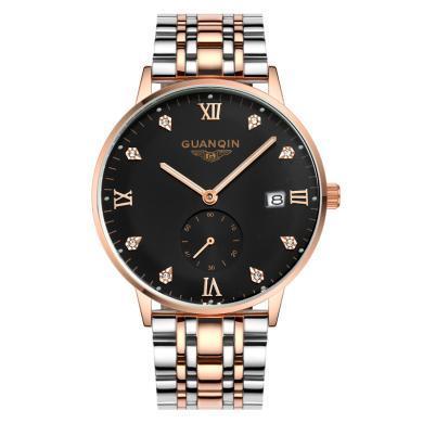 冠琴手表防水钢带石英表男时尚潮男表2020新款夜光男士手表正品