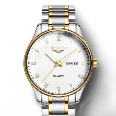 冠琴正品 男士防水石英表 鋼帶雙日歷夜光復古時尚商務男士手表