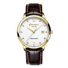 正品冠琴男士手表机械表真皮带男表水钻防水腕表薄款时尚手表