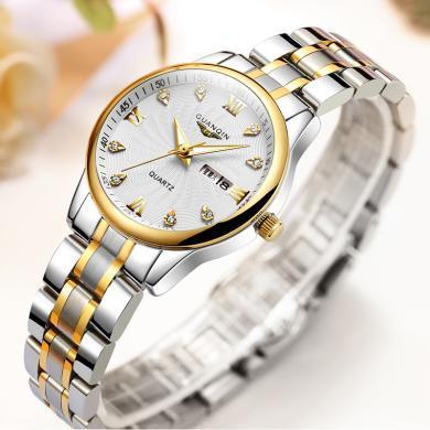 冠琴手表 2020新款女士防水時尚潮流簡約休閑女表精鋼帶女手表