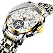 冠琴男士手表机械表镂空全自动精钢带防水时尚潮流坨飞轮男表腕表