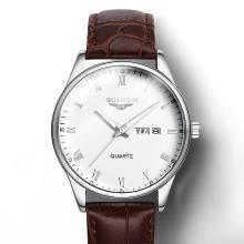 冠琴正品 男士防水石英表 真皮帶雙日歷夜光復古時尚商務男士手表