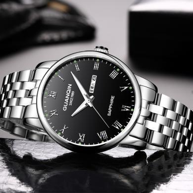 冠琴男士手表正品防水夜光石英表男表鋼帶時尚潮流男人腕表