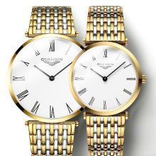 冠琴正品 簡約時尚薄款情侶對表 防水石英表 男女情侶手表一對
