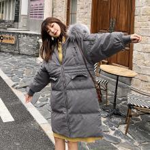 七格格大毛领深灰色羽绒服女2019新款冬韩版宽松白鸭绒中长款外套