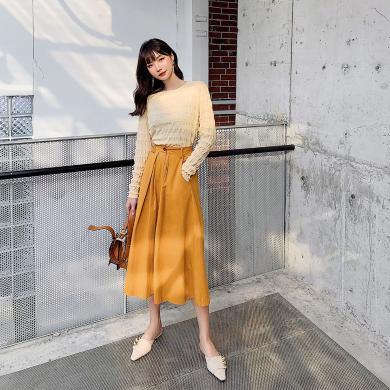 七格格時尚套裝女219秋季新款韓版顯瘦氣質小個子橘色裙子兩件套