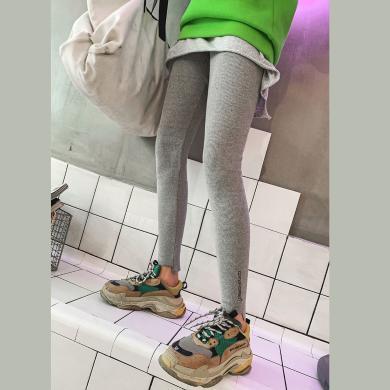 七格格加绒打底裤女外穿2019新款韩版百搭显瘦灰色刺绣小脚裤子潮