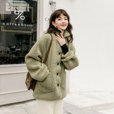 七格格仿皮草外套女2019新款中长款皮毛一体加厚保暖羊剪绒大衣冬