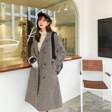 七格格呢子大衣女中長款2019新款秋冬裝韓版寬松加厚格子毛呢外套